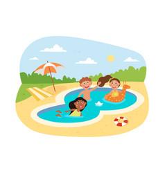 happy little children swimming in pool vector image