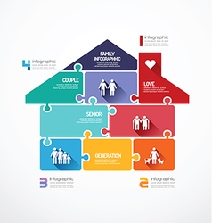 house shape jigsaw banner family concept vector image