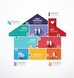 House shape jigsaw banner family concept vector