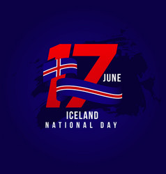 iceland national day template design vector image