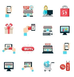 Internet Shopping Flat Icon Set vector