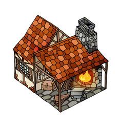 Isometric house old european blacksmith vector