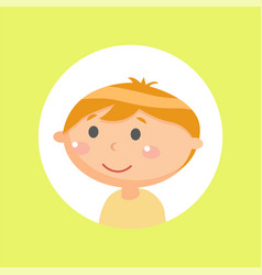 kid glossy face on yellow little person vector image