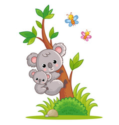 koala with a cub on its back climbs a tree vector image