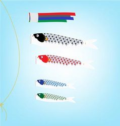 Koi Flag hanging on a line in Children day vector