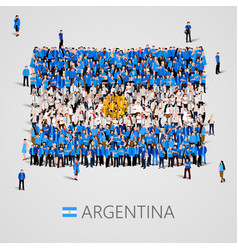 Large group people in argentina flag shape vector