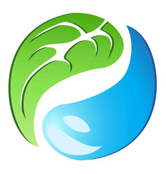 leaf drop tai chi symbol vector image