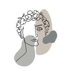 line art head david michelangelo 1 vector image