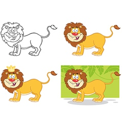 Lion Cartoon Character Collection vector image