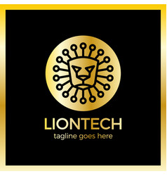 lion tech logo vector image