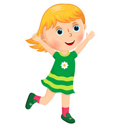 little girl runs with arms raised vector image