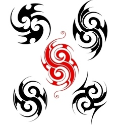 Maory style tattoo set vector image