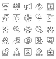 media influence outline icons set vector image