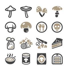 Mushroom icon set vector