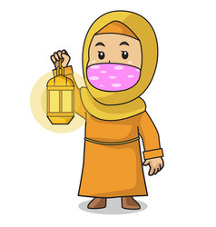Muslim girl use orange shirt and hijab put vector