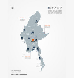 Myanmar burma infographic map vector