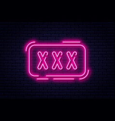 neon sign adults only 18 plus sex and xxx vector image