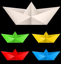 paper ships isolated on black background for vector image