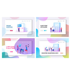 payment with mobile phone and card website landing vector image