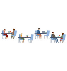 people in a cafe isolated lunch break beverages vector image