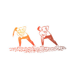 People in sportive clothes working out together vector