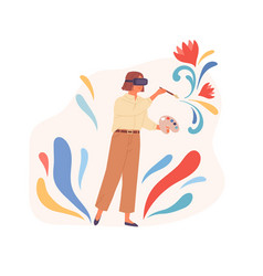Person painting in virtual reality using vr vector