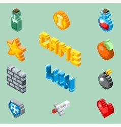 Pixel art game icons 8 bit isometric pictograms vector