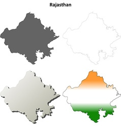 Rajasthan blank detailed outline map set vector