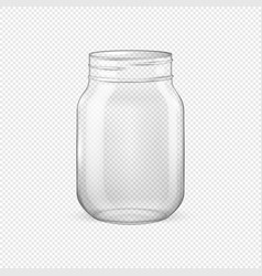 Realistic empty glass jar for canning and vector