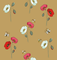 red and white poppies with butterflies and bees vector image