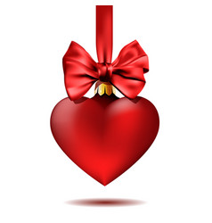 red christmas decoration shape heart hanging on vector image