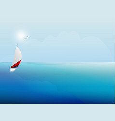 sailing boat on the blue sea yacht and ocean vector image