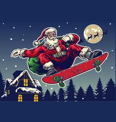 santa claus ride skateboard in vintage hand vector image