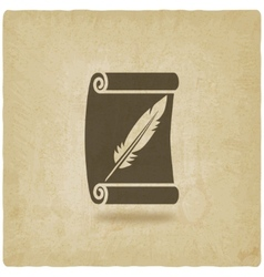 Scroll and feather writing symbol old background vector