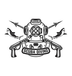 Scuba diving emblem template with old style diver vector