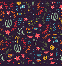 Seamless pattern with underwater ocean animals vector