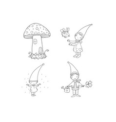 Set of cute cartoon gnomes vector