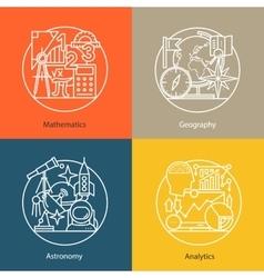 Set of logos mathematics geography vector