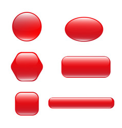 set of red square and rounded button vector image