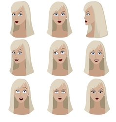 Set of variation of emotions of the same woman vector image