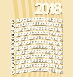 simple vertical calendar in unusual design retro vector image