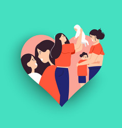 Single mother concept with children vector