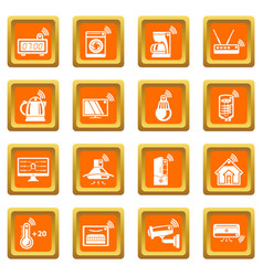Smart home icons set orange square vector