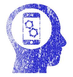 Smartphone mind control textured icon vector