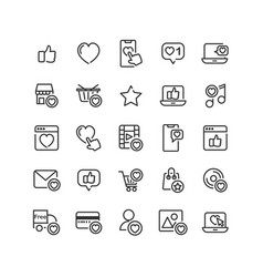social network like outline icon set vector image