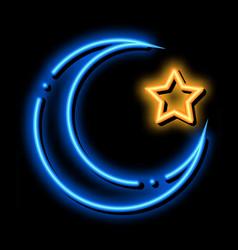 Special lunar year hajj neon glow icon vector