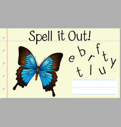 Spell it out butterfly vector