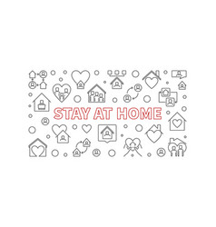 stay at home concept line horizontal banner vector image