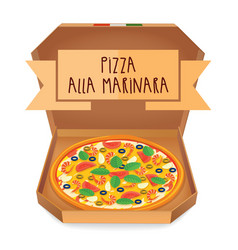 The real pizza alla marinara italian pizza in box vector