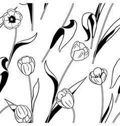 Tulip black white vector